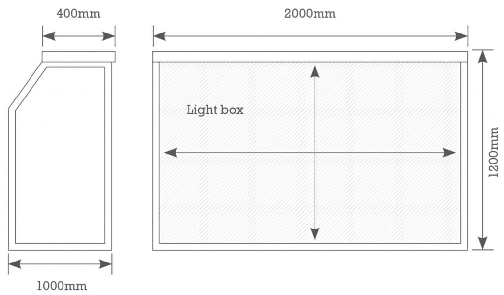 Mobile cocktail bar, light bar dimensions