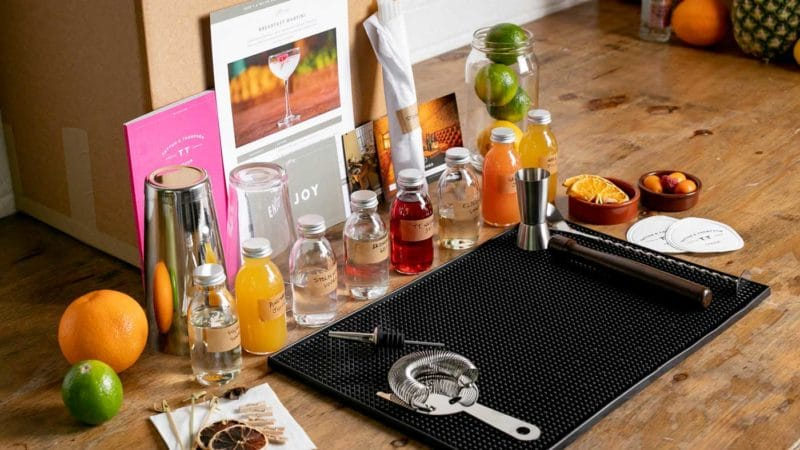 Mixology Events Virtual Cocktail Classes Lead Image - box contents on a table